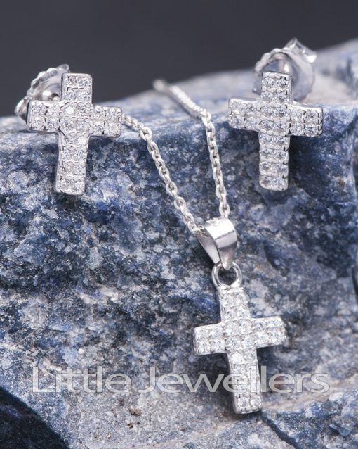Sterling Silver Cross Necklace Set