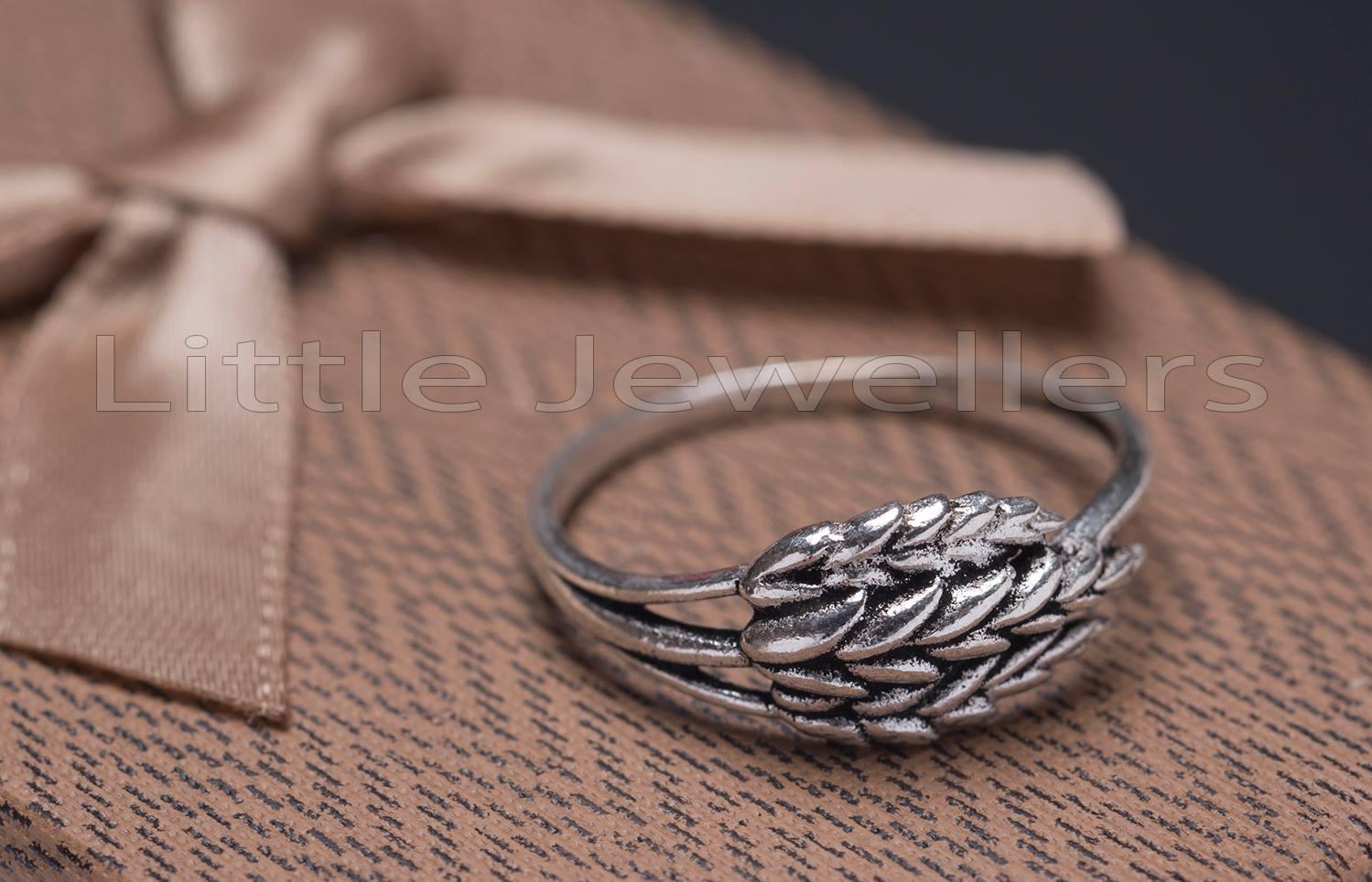 Silver leaf Oxidized ring