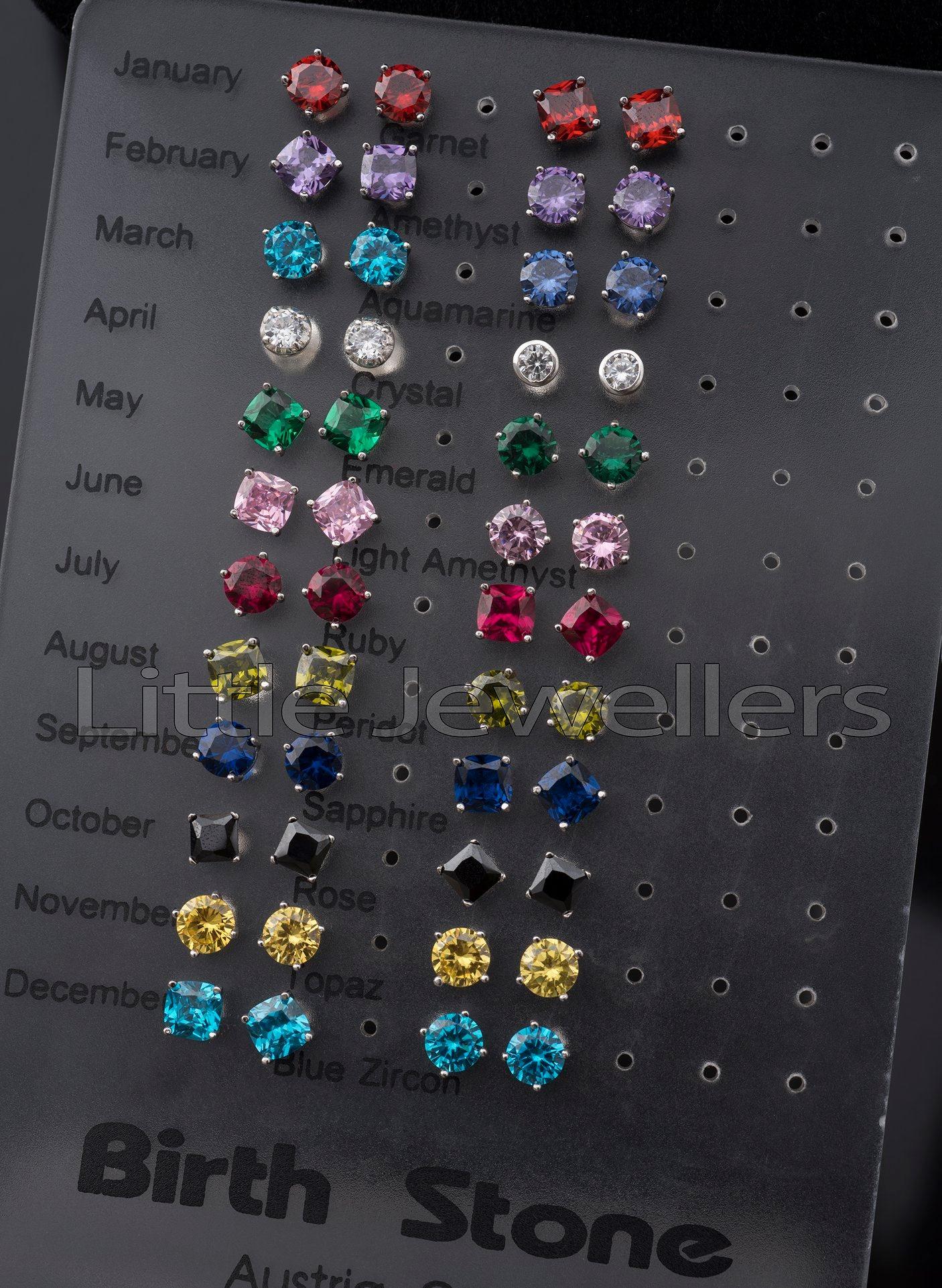 Sterling Silver Birth Stone Earrings
