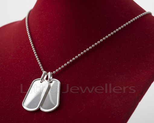 Custom Engraved Sterling silver Dog Tag necklace