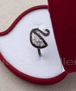 Black and White Swan Ring