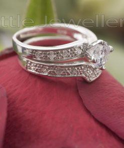 romantic double engagement ring