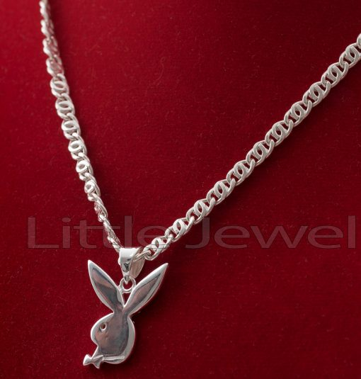 Sterling Silver playboy bunny pendant & Chain
