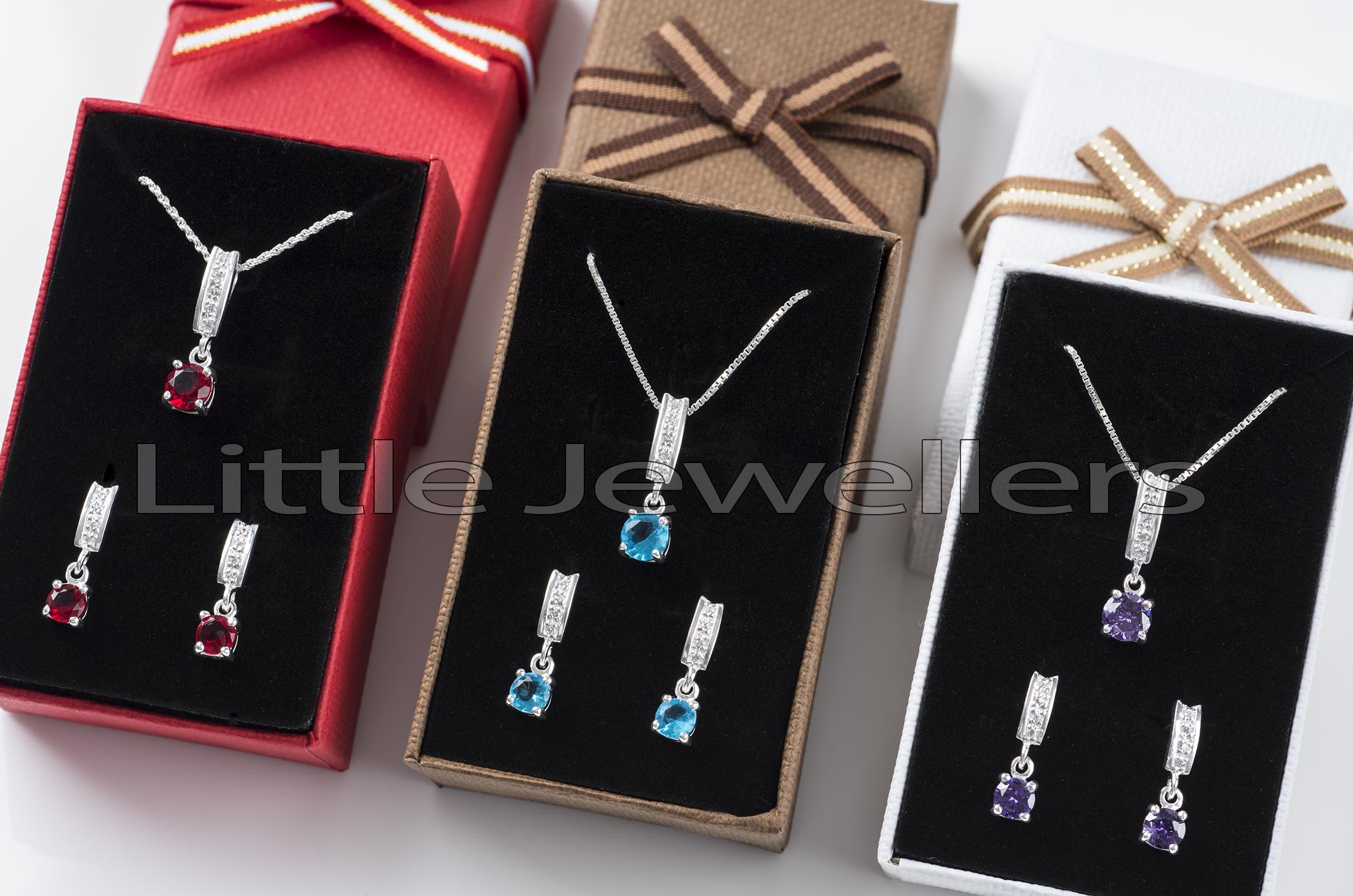 Silver Multi Colored Necklace Sets