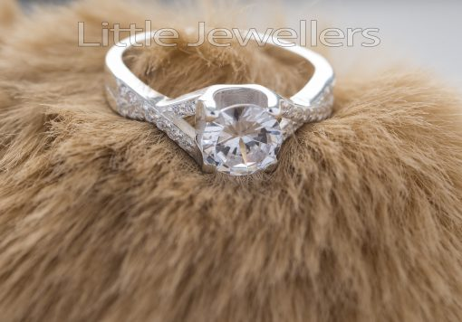 Sterling Silver Beautifully Curved Engagement Ring