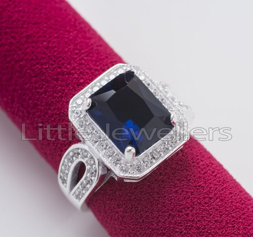 Sterling Silver Beautiful Sapphire Engagement Ring