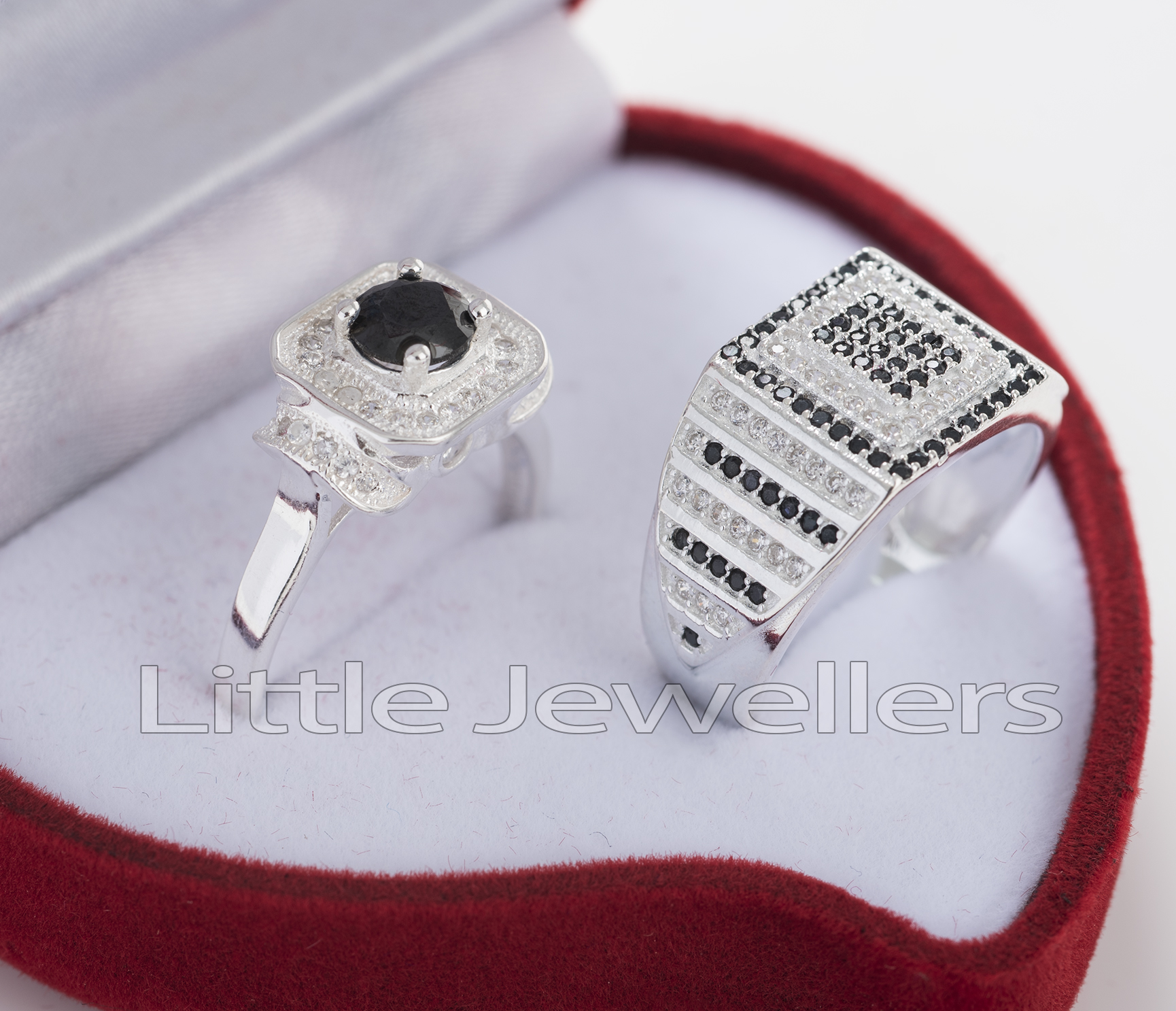 Sterling Silver His & Hers Promise Rings