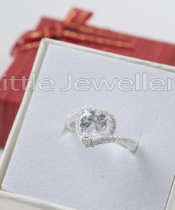 Sterling Silver Heart Engagement Ring