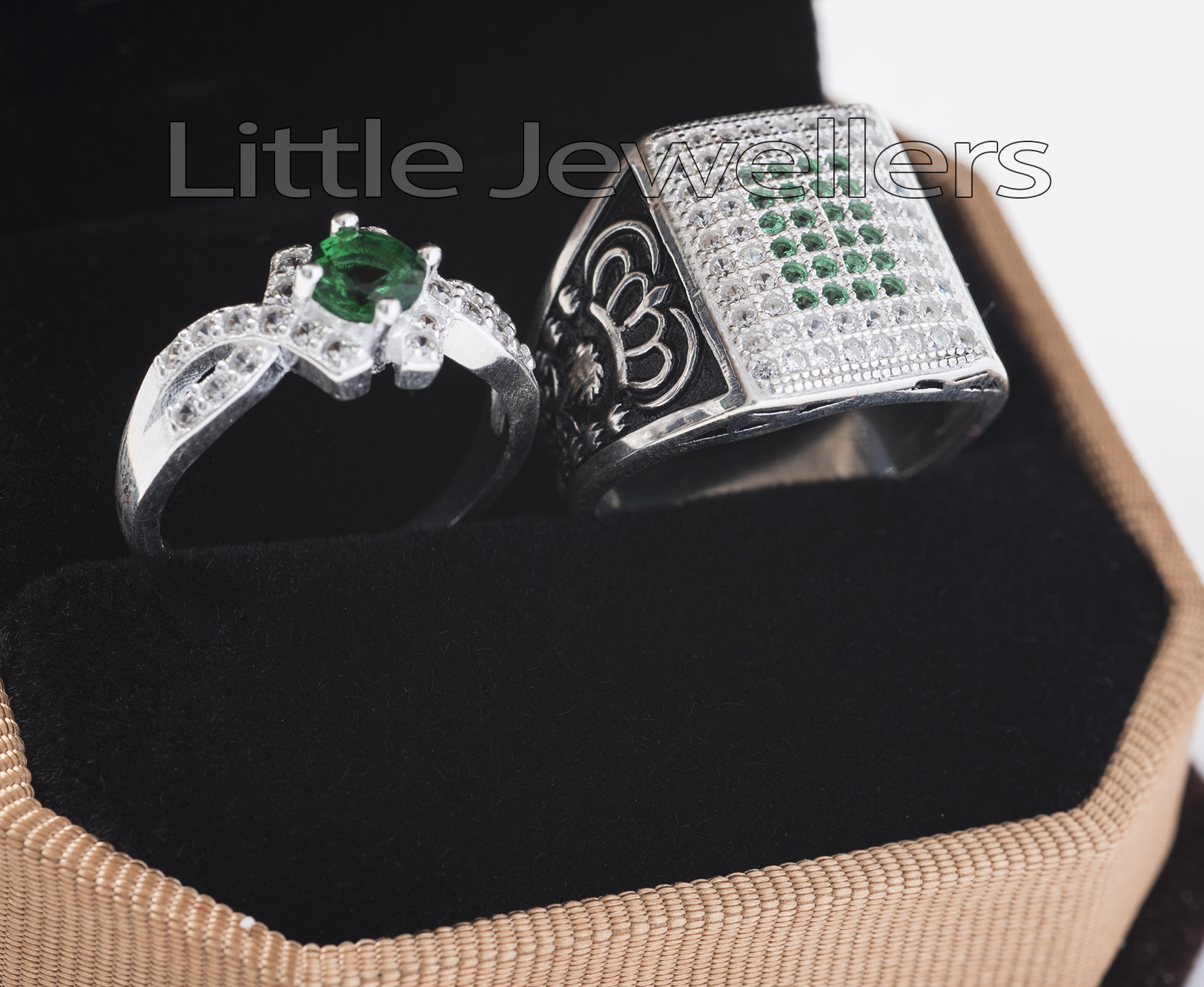 Sterling Silver CZ Emerald His & Hers Promise Rings