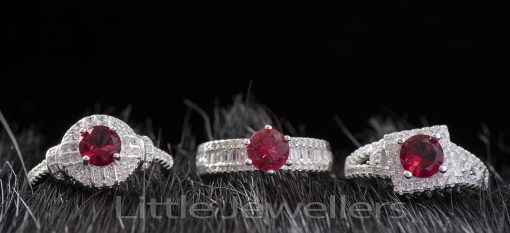Sterling Silver CZ Red Garnet Promise Rings