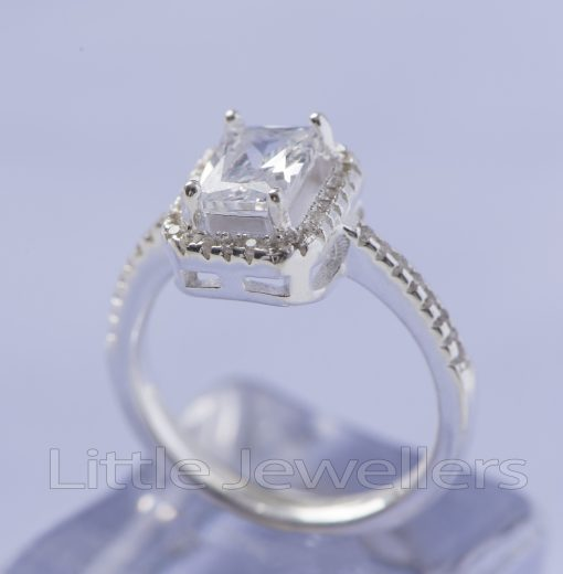 Silver Square Shaped Engagement ring