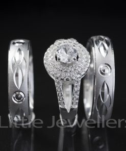 Sterling Silver Wedding Rings Inclusive Of Engagement Ring.