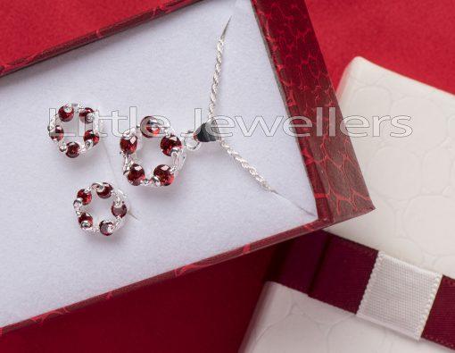 Sterling Silver Cz Garnet Necklace Set