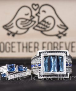 Sterling Silver Sapphire Matching His & Hers Rings
