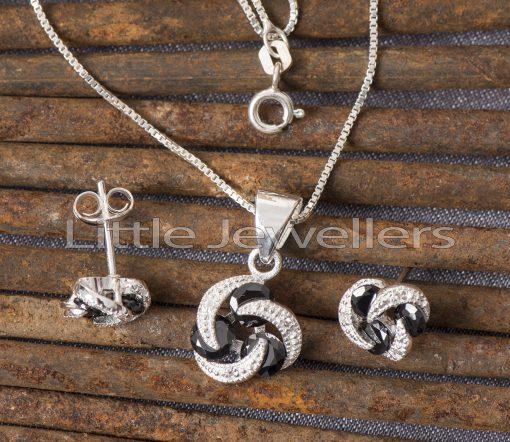 Sterling Silver Cz Necklace Set