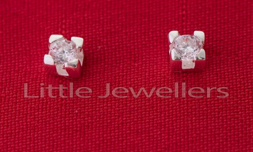 Sterling Silver Cz Studs Earrings