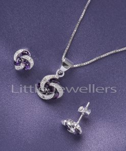 Sterling Silver Cz Amethyst Necklace Set