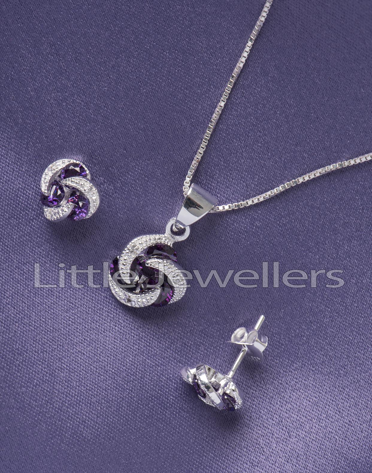 Sterling Silver Cz Amethyst Necklace Set