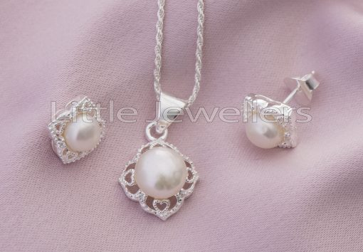 Sterling Silver Pearl Matching Necklace
