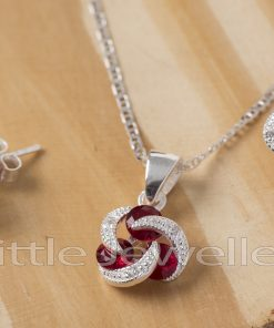 Sterling Silver Cz Garnet Necklace Set