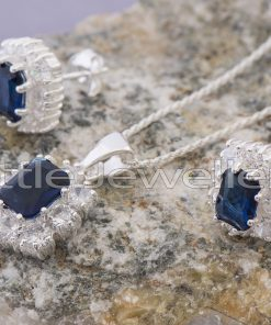 Sterling Silver Cz Sapphire Matching Necklace