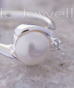 Sterling Silver pearl Engagement Ring