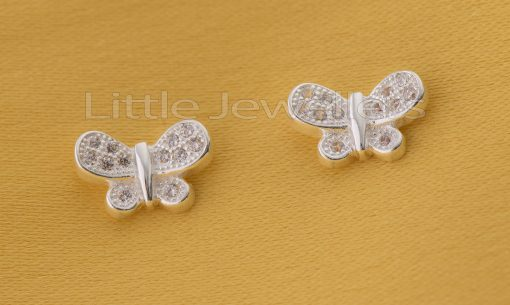 Sterling Silver Cz Butterfly Studs Earrings