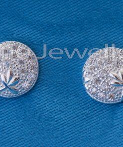 Sterling Silver Round Flower stud Earring