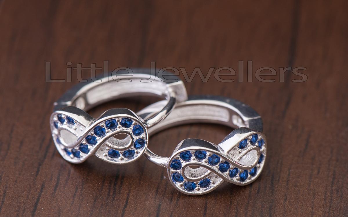 Sterling Silver Cz Blue infinity Loop Earrings