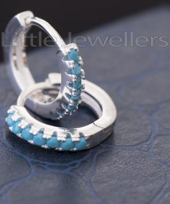 Sterling Silver Blue Cz Loop Earrings