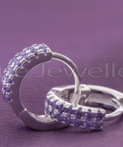 Sterling Silver Cz Purple Loop Earrings
