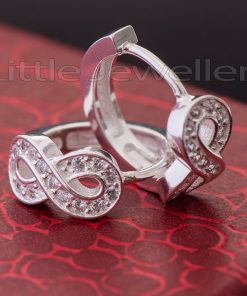 Sparkling Silver Infinity Loop Earrings