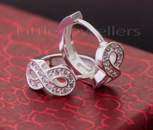 Sparkling Silver Infinity Loop Earrings