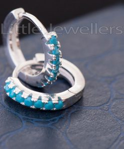 Magnificent Silver Aqua Blue Loop Earrings