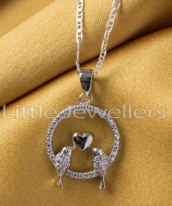 Sterling Silver Love Birds Necklace