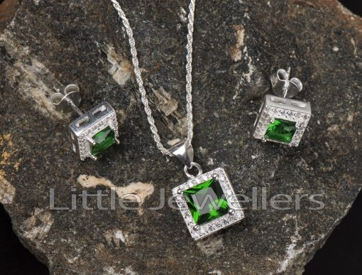 Light up your look with this silver cz emerald necklace set