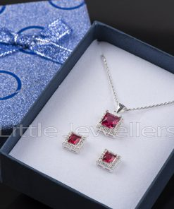 A cz garnet jewelry set is an ideal gift for the January birthday girl