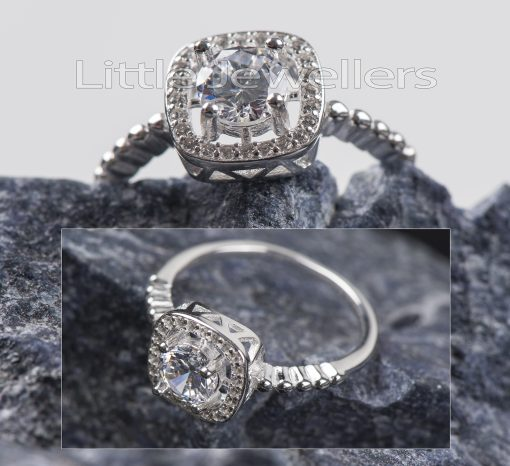 A brilliant sterling Square Halo cubic zarconia Engagement Ring