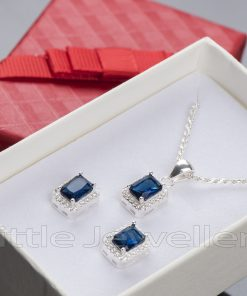 Princess Cut Sapphire Cubic Zirconia Necklace Set