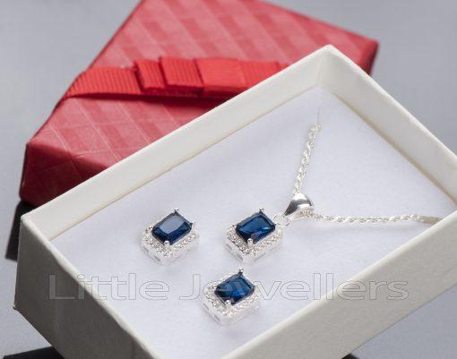 Princess Cut Sapphire Cubic Zirconia Necklace Set