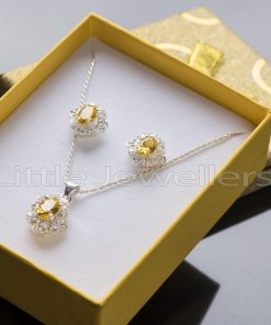 This citrine necklace set makes a standout addition to your collection