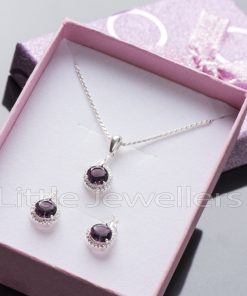 Dare to dazzle with this radiant cz amethyst necklace set