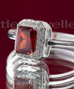 Simple Silver Cz Square Cut Garnet Ring