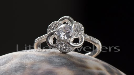 Sterling silver Cz Flower Shaped Engagement ring