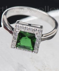 Square Cz Emerald Ring In Sterling Silver...