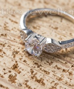 This silver engagement ring is brilliant and classic..