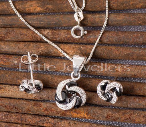Sterling silver black floral necklace set