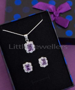 This amethyst necklace set makes a standout addition to your collection
