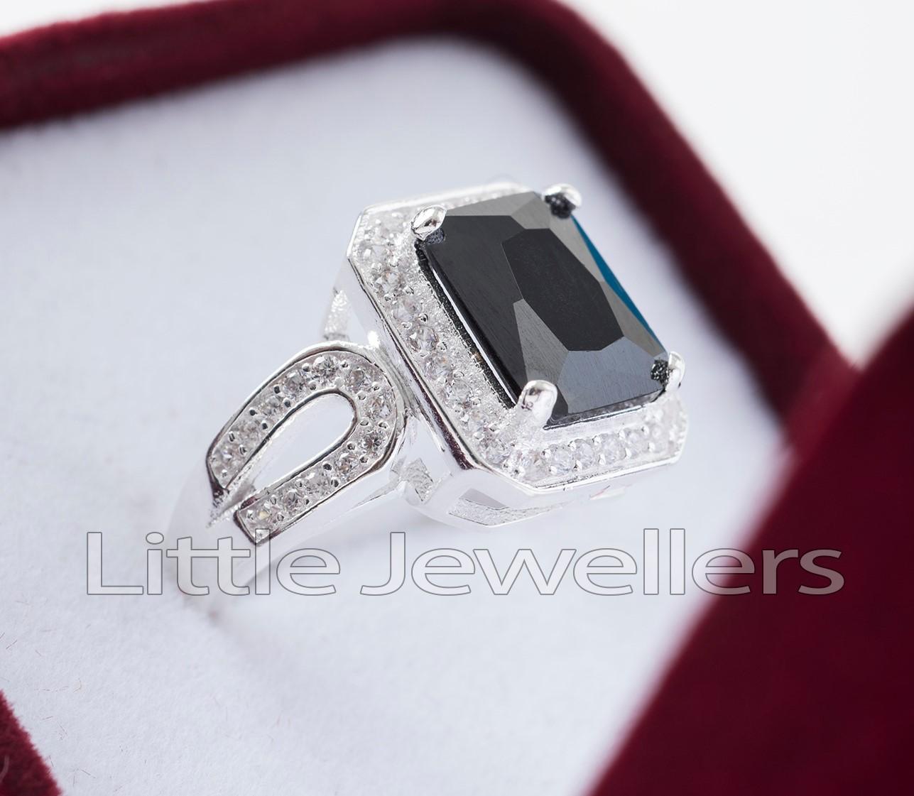Sterling Silver Black Radiant Shape Ring
