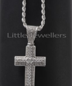 silver Cross pendant with a simple twisted chain